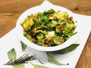 Kartoffel Linsen Salat mit Birnen und Curry