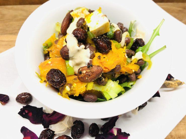 Kürbis Salat mit Adzuki Bohnen mit Cranberries