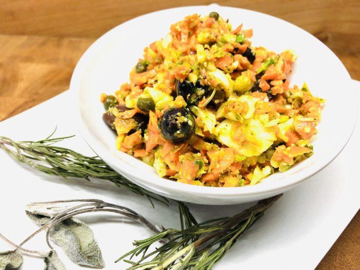 Karotten Fenchel Salat mit Orangen Senf Dressing