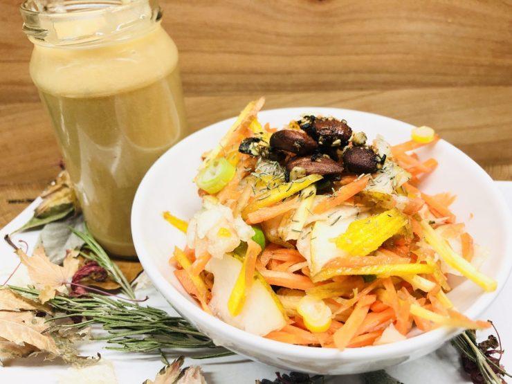 Karotten Birnen Salat mit Birnen Miso Dressing