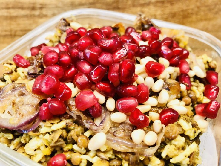 Mujadara Linsen Reis mit karamellisierten Zwiebeln