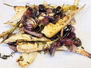 Fenchel-Pastinaken-Gemüse mit Trauben