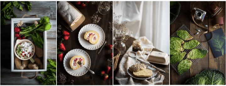 Radieschenquark, Erdbeer-Bisquitrolle, Hirsebrötchen, Kohlchips - vier Bilder aus meinem Portfolio für Foodfotografie/Foodstyling. Fotografie: Tina Kollmann, Nürnberg, LECKER&Co