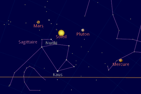 vue soleil planetes google sky map Android