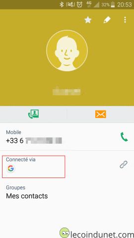 Android - Détails d'un contact