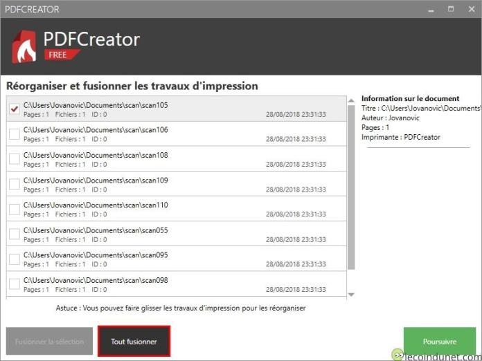 PDFCreator - Tout fusionner