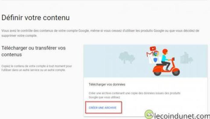 Google account - Créer une archive gmail