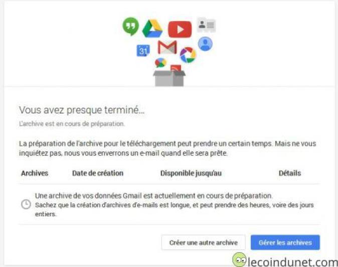 Gmail - préparation archive zip
