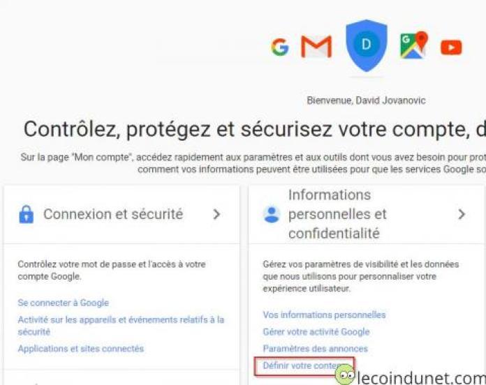 Google Account - définir votre contenu