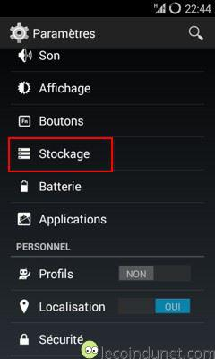 Android - paramètres stockage