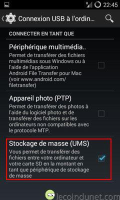 Android - Activer stockage de masse