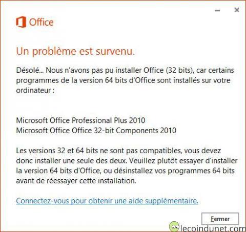 Office 365 - Un problème est survenu