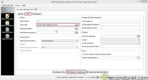 MKVToolNix - démarrer multiplexage