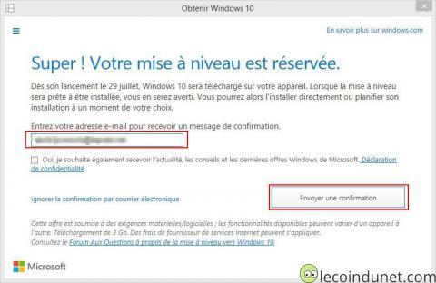 Obtenir Windows 10 - Confirmation réservation