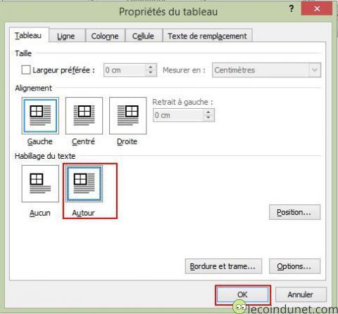 Microsoft Word - Habillage du texte tableau