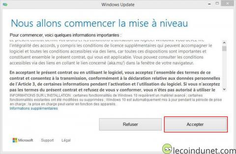 Windows 10 - Mise à jour acceptation contrat