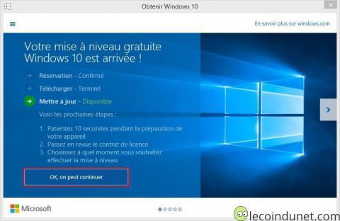 Windows 10 - Mise à jour descriptif étapes installation