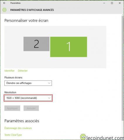 Windows 10 - Paramètres d'affichage avancés