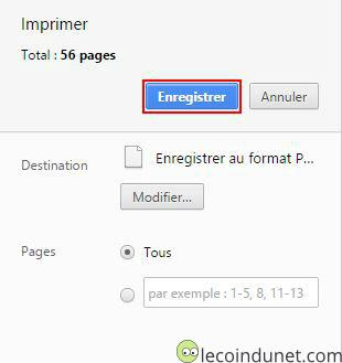 Google Chrome - Enregistrer en PDF