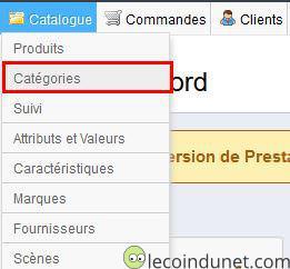 Prestashop - menu Catalogue option Catégories