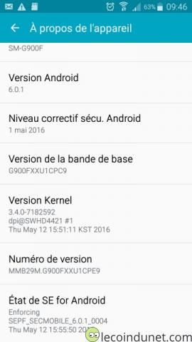 Galaxy S5 - Vérfiication version Android 6