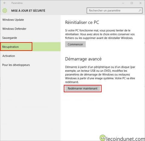 Windows 10 - Démarrage avancé
