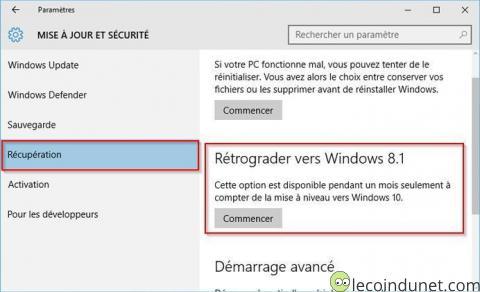 Windows 10 - Rétrograder