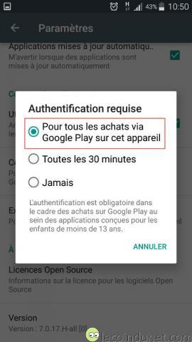 Google Play Store - Paramètres authentification