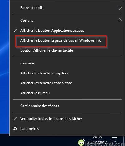 Windows 10 - Afficher windows ink