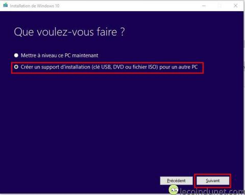 Windows 10 - mediaCreationTool Créer support installation