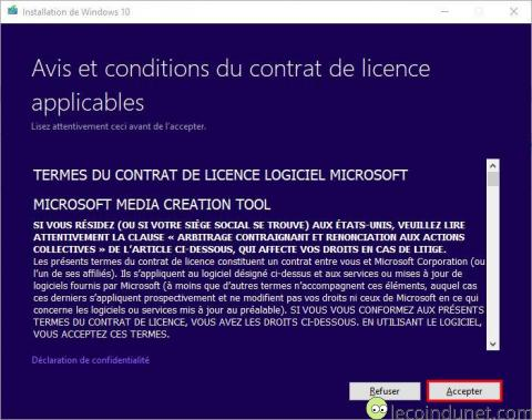 Windows 10 - MediaCreationTool Acceptation licence