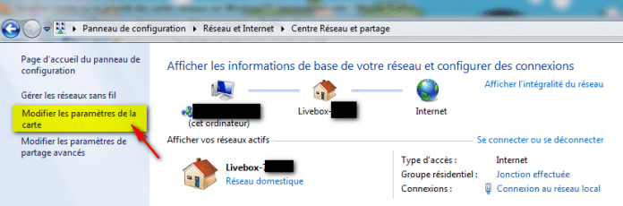 Windows 7 - Modifier paramètres de la carte