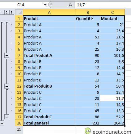 Excel - Sélectionner données sous-total