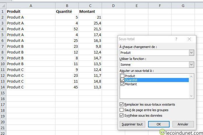 Excel - Faire un sous total