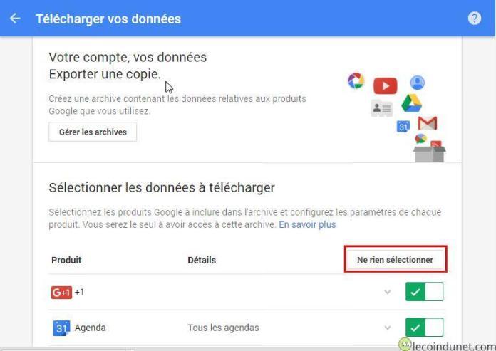 Google takeout - Ne rien sélectionner