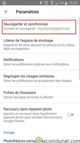 Google photos - Option Sauvegarder et synchroniser photos vidéos