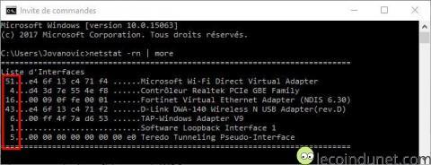 Liste des interfaces réseaux avec l'invite de commande Windows