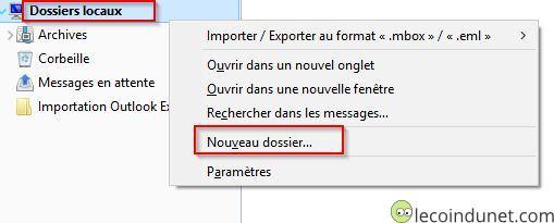 Thunderbird - Dossier locaux - Nouveau dossier