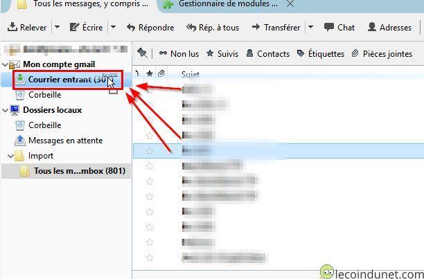Thunderbird - Importer Mbox dans Gmail par glissé déposé
