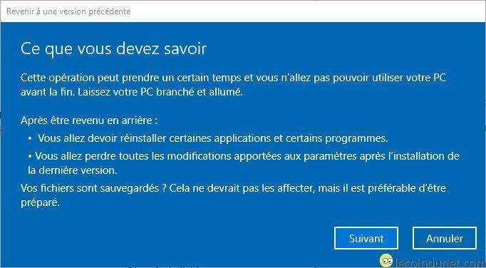 Windows 10 - A savoir avant de désinstaller mise à jour