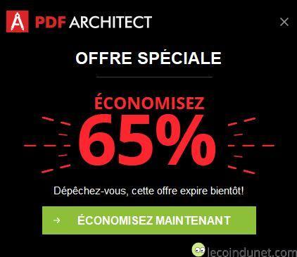 PDF Architect - notification offre spéciale