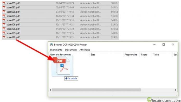 Winodws 10 - Glisser déposer fichiers dans la file d'attente imprimante