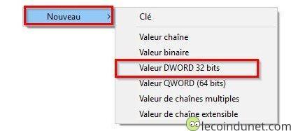 Regedit - Nouvelle valeur Dword 32 bits