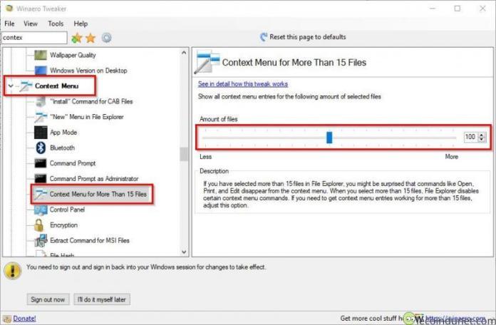 Winaero Tweaker Context menu for more than 15 files
