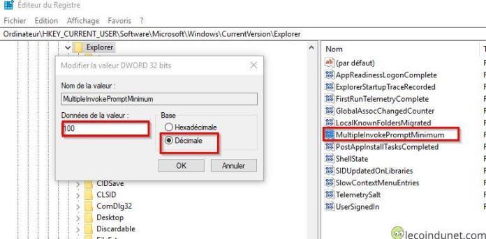 Windows 10 - Clé registre multipleinvokepromptminimum