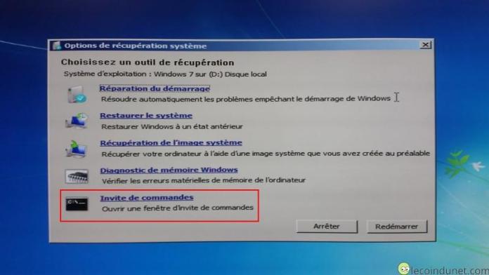 Windows 7 - Outil de récupération invites de commandes
