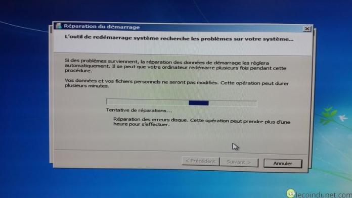 Windows 7 - Réparation du démarrage en cours