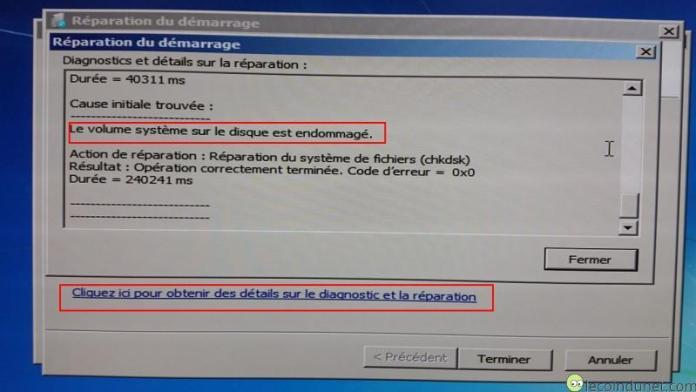 Windows 7 - Résultat de la réparation du démarrage