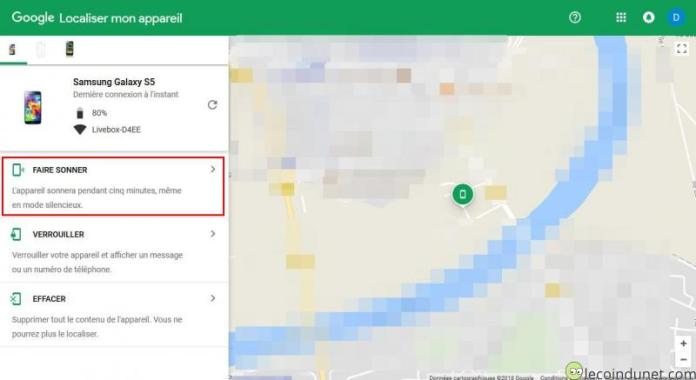 Google - Faire sonner téléphone