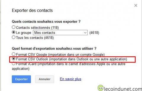 Google contact - Export format CSV